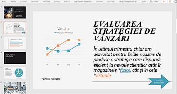 Prezentare cu un diapozitiv care conține o diagramă și text cu două hyperlinkuri