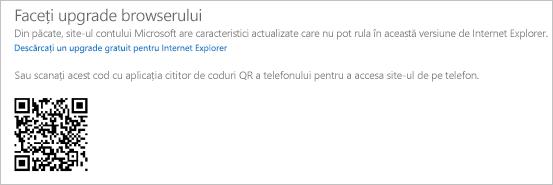 Mesajul Faceți upgrade browserului