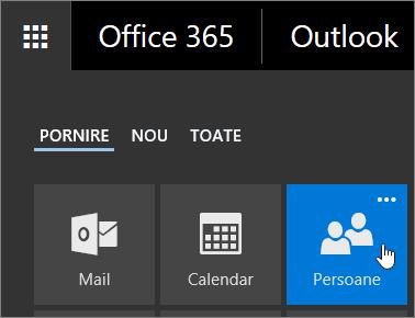 Captură de ecran a cursorului mențineți indicatorul peste dala persoane în Lansatorul de aplicații Office 365.