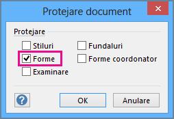 Forme selectate în Protejare document în Visio 2016