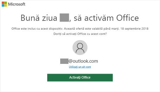 """Afișează ecranul """"Să activăm Office"""", care indică faptul că Office este inclus pe acest dispozitiv"""
