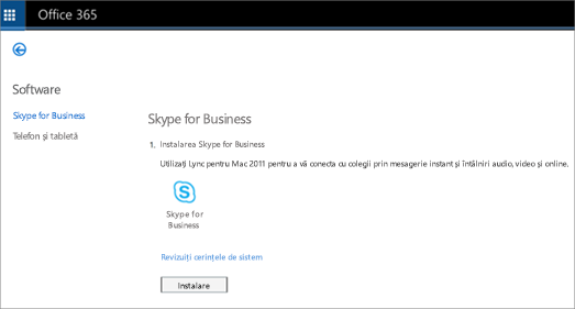 O imagine a paginii de instalare pe care o veți vedea dacă aveți planul Skype for Business Online