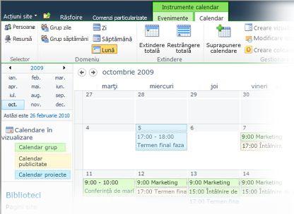Utilizarea calendarelor multiple în SharePoint