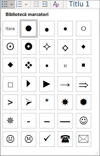 Captură de ecran a selecției elementelor de listă cu marcatori din meniul Pornire.