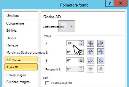 Caseta de dialog Formatare formă cu rotație 3D X selectată