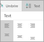 Windows Mobile tabel alinierea textului