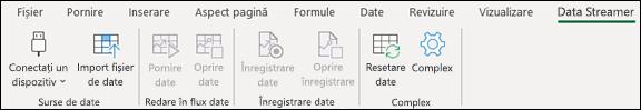 Programul de completare Data Streamer în meniul panglică Excel