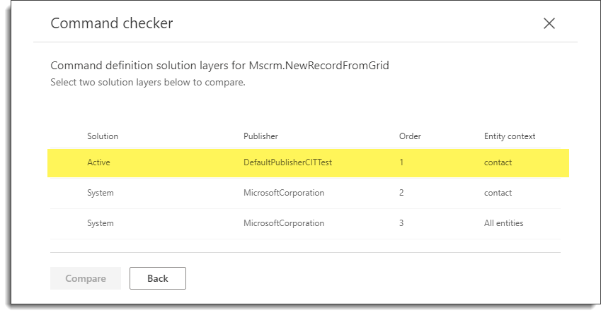 Command Checker - Contact - New Command Solution Layers
