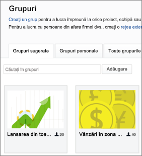 O listă de grupuri