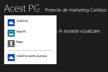 Selectarea OneDrive pentru business dintr-o altă aplicație