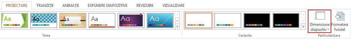 Pe fila Proiectare, în grupul Particularizare, faceți clic pe Dimensiune diapozitiv.