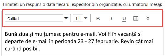 Outlook pe web - mesajul Răspunsuri automate