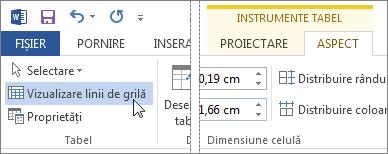 Vizualizare linii de grilă