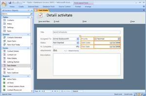 The Access 2007 Tasks database template