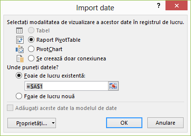 Expertul conexiune de date > importul de date