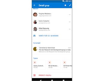 Pagina Detalii grup, care oferă acces simplu la fișiere