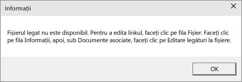 Afișează eroare la fișierul conectat, în PowerPoint