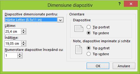 Puteți defini setările pentru diapozitive în caseta de dialog Dimensiune diapozitiv.