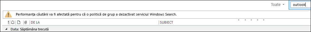 Windows Desktop Search dezactivat