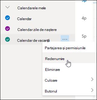 Captură de ecran a meniului contextual al calendarului cu opțiunea Redenumire selectată