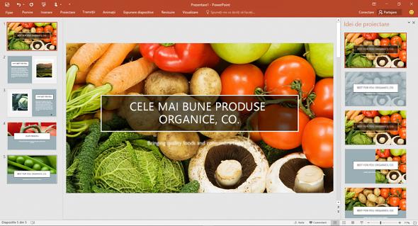 Designer îmbunătățește fotografiile de pe diapozitive cu un singur clic.