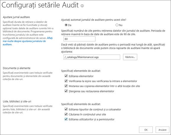 Ecranul Setări site-ul colecției de audit