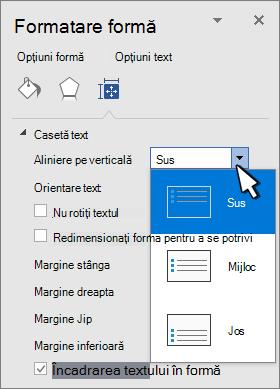 Formatare panou formă cu aliniere verticală selectată