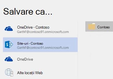 Salvarea unei OneDrive pentru Business document într-o bibliotecă de site-ul de echipă