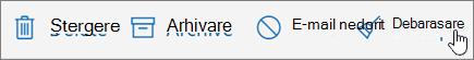 Captură de ecran afișează opțiunea Debarasare selectată în bara de instrumente de E-mail.