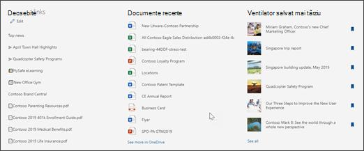Imagine cu linkurile recomandate, documentele recente și salvate pentru elementele mai recente