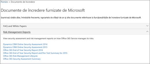 Afișează pagina Asigurare pentru servicii: Documente de încredere furnizate de Microsoft