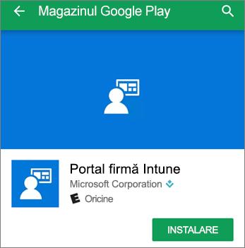 Captură de ecran care afișează butonul Instalare pentru Portalul firmei Intune din magazinul Google Play