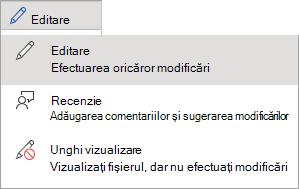 Opțiuni de editare