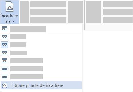Opțiunea Editare puncte de încadrare pentru Încadrare text de pe panglică
