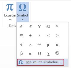 Caseta Simbol, faceți clic pe Mai multe simboluri.