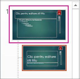 Miniatura Coordonator de diapozitive în Vizualizarea coordonator de diapozitive