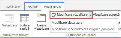 Modificarea butonul Vizualizare cu listă verticală deschisă
