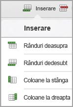iPad meniul Inserare tabel