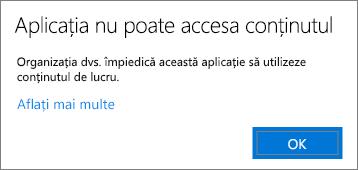 O casetă de dialog care spune că aplicația nu poate accesa conținutul atunci când îl lipiți într-o aplicație negestionată.