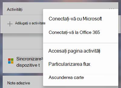 Captură de ecran afișând opțiunea de a vă conecta cu Microsoft sau Office 365 în meniul mai multe activități