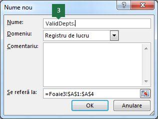 Tastați un nume pentru intrările dvs. din lista verticală în Excel