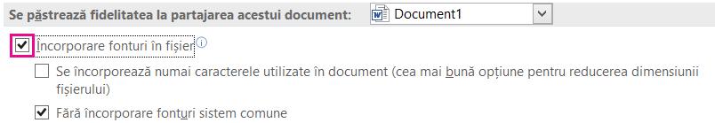 Utilizarea fișier > Opțiuni pentru a activa font încorporarea pentru fișier