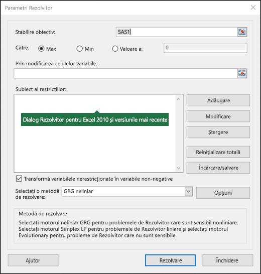 Imagine a casetei de dialog Rezolvitor Excel 2010 +