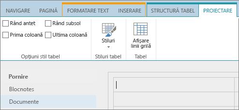 Captură de ecran cu panglica SharePoint Online. Utilizați fila Proiectare pentru a bifa casetele de selectare pentru rândul antet, rândul subsol, prima coloană și ultima coloană dintr-un tabel, apoi selectați din stilurile de tabel și indicați dacă tabelul utilizează linii de grilă.