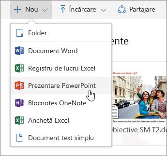 Captură de ecran care arată cum să creați un fișier sau un folder în OneDrive