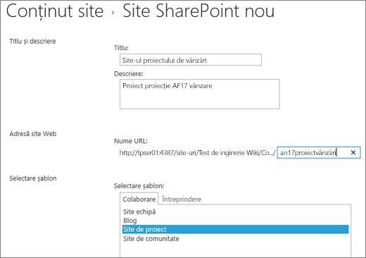 Ecran de Creare subsite-ul SharePoint 2016