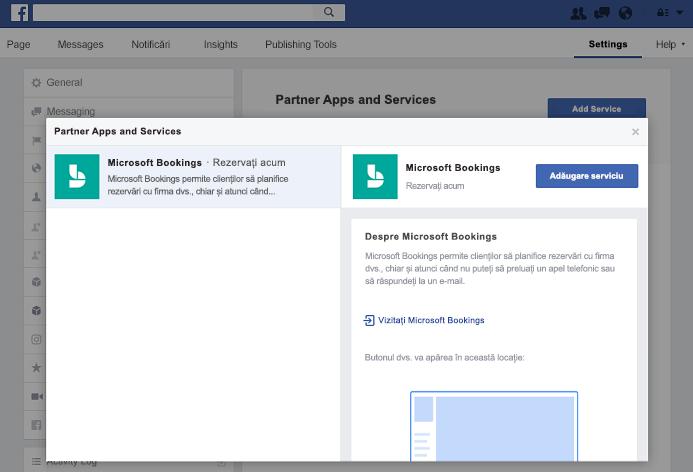 Captură de ecran care arată adăugând un serviciu la panoul partener aplicații și servicii.