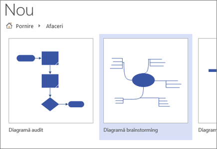 Alegeți șablonul de diagramă Brainstorming