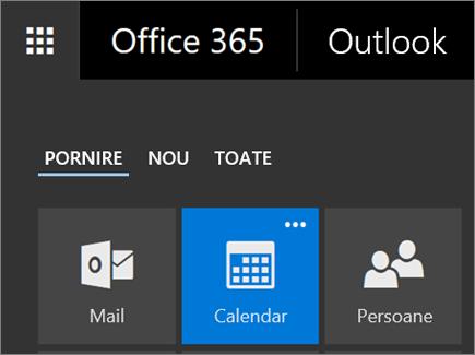 Captură de ecran cu dala Calendar din Lansatorul de aplicații Office 365.