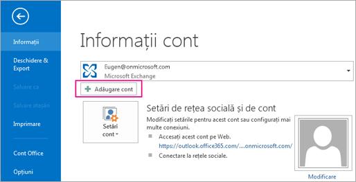 Pentru a adăuga un cont Gmail în Outlook, faceți clic pe butonul Adăugare cont